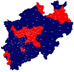 Ergebnisse nach Wahlkreisen. CDU blau, SPD rot.